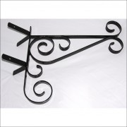 Ornate corner wall hanging basket bracket